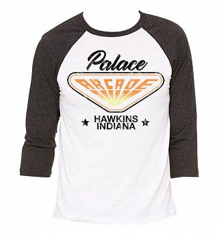 Stranger Things Inspired Hawkins Indiana Arcade White And Black Raglan Baseball T-Shirt