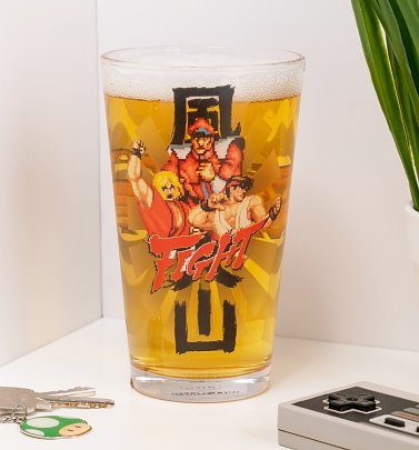 Street Fighter Fight Large Glass