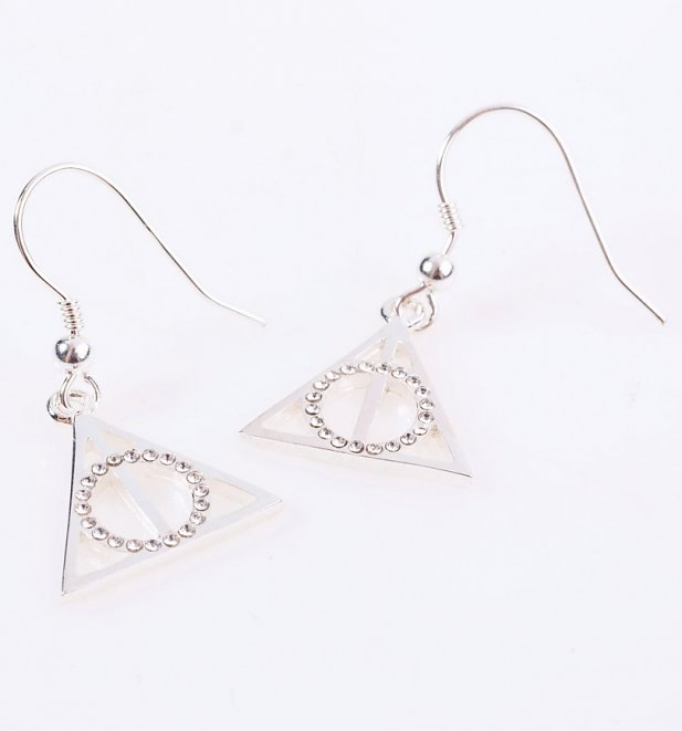Swarovski Crystal Embellished Harry Potter Deathly Hallows Drop Earrings