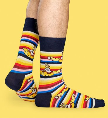 The Beatles All On Board Striped Socks from Happy Socks
