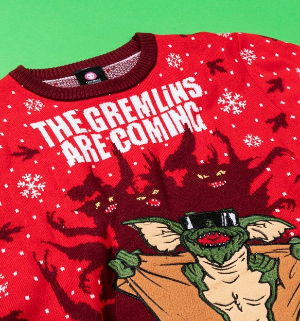 The Gremlins Are Coming Red Knitted Christmas Jumper