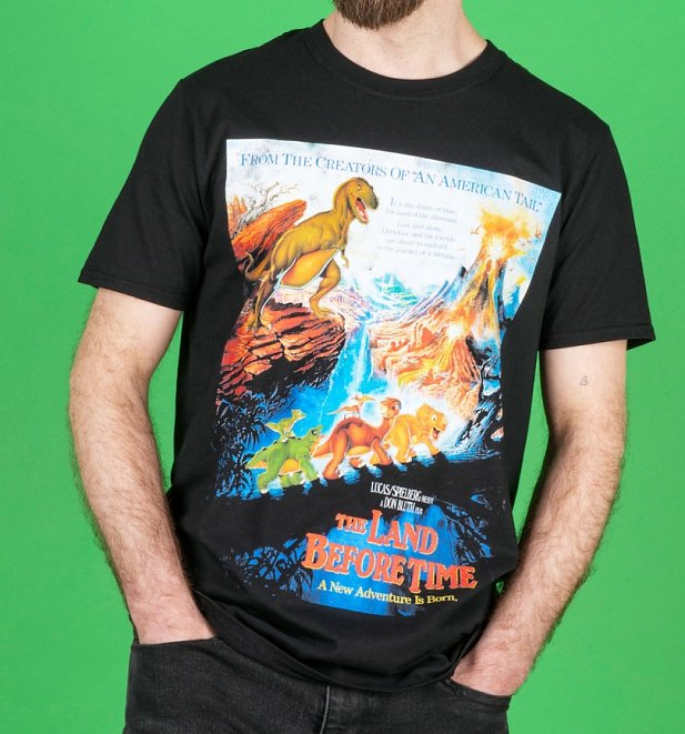 The Land Before Time Movie Poster Black T-Shirt