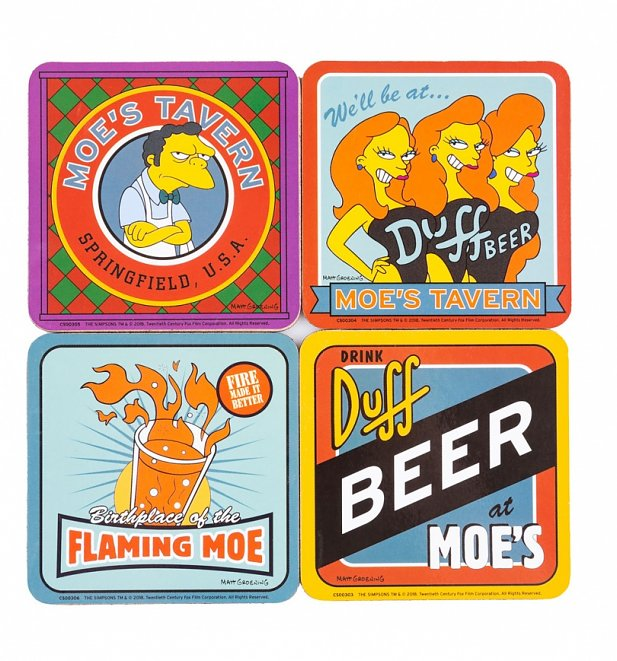 The Simpsons Moe's Tavern Set Of 4 Coasters