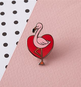 Tropical Flamingo Enamel Pin from Punky Pins