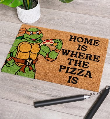 Turtles Home Is Where The Pizza Is Door Mat