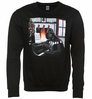 Black Star Wars Darth Vader Piano Christmas Jumper