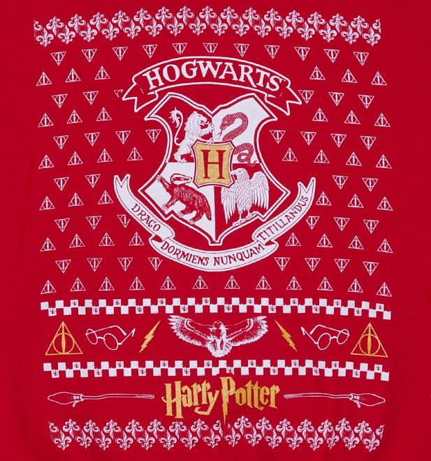 Unisex Red Harry Potter Crest Fair Isle Christmas Sweater