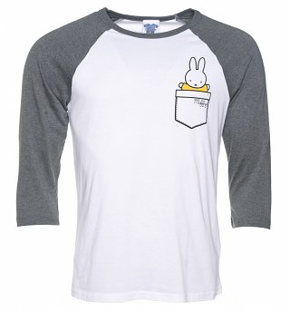 Miffy Printed Pocket White And Grey Raglan Baseball T-Shirt