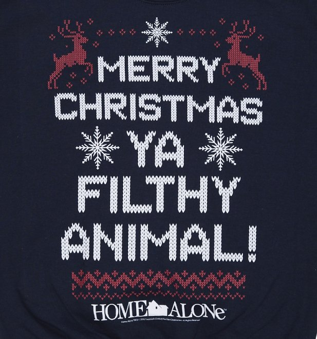 Navy Merry Christmas Ya Filthy Animal Home Alone Christmas Sweater