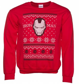 Unisex Red Marvel Comics Iron Man Fair Isle Christmas Sweater