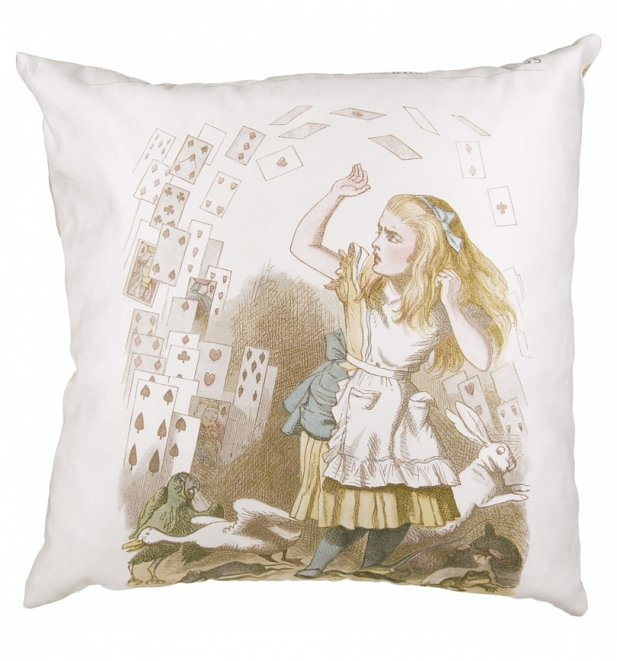 Vintage Alice In Wonderland Cards Filled Cushion