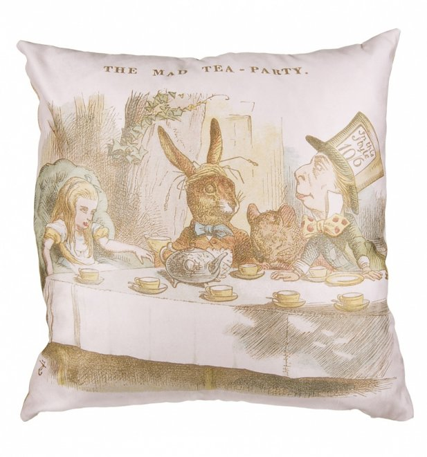 Vintage Alice In Wonderland Mad Tea Party Filled Cushion