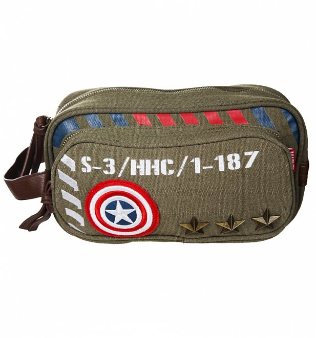 Vintage Canvas Captain America Army Wash Bag