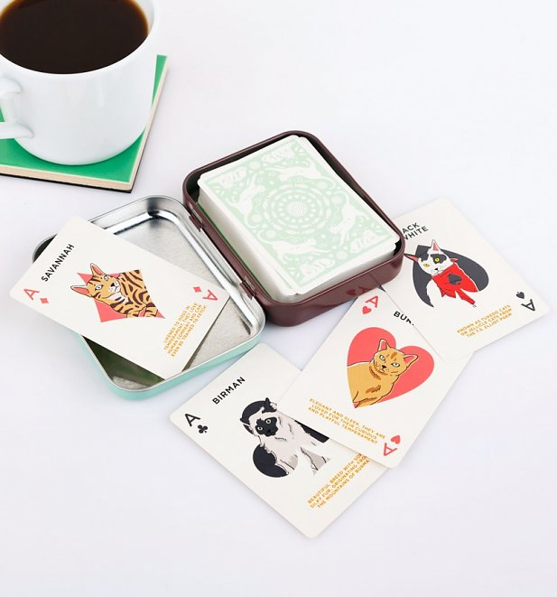 Vintage Cat Lover's Playing Cards in Tin