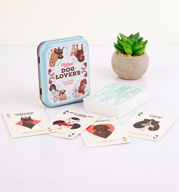 Vintage Dog Lover's Playing Cards in Tin