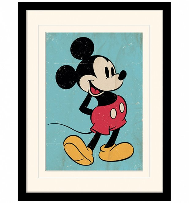 Vintage Mickey Mouse Mounted And Framed Print 30cm x 40cm