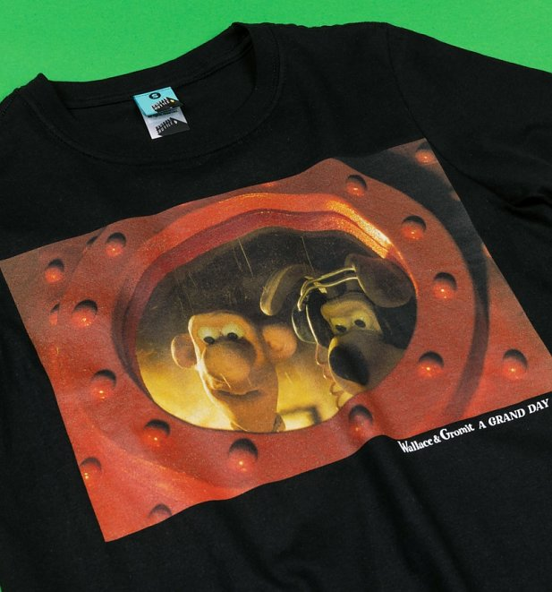 Wallace And Gromit A Grand Day Out Black T-Shirt