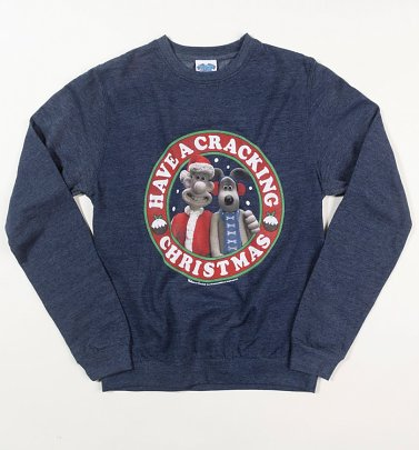 Wallace And Gromit Cracking Christmas Heather Navy Sweater
