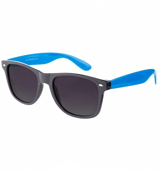Way Farer Sunglasses With Black Frame and Blue Arms