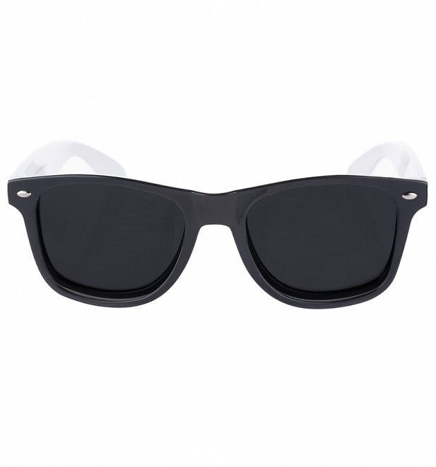 Way Farer Sunglasses With Black Frame and White Arms