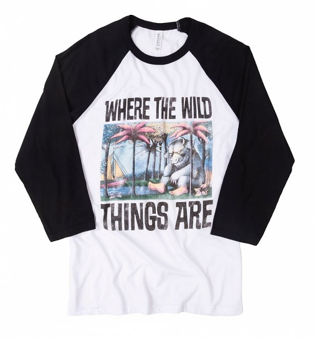 Where The Wild Things Are Book Cover White And Black Raglan Baseball Shirt