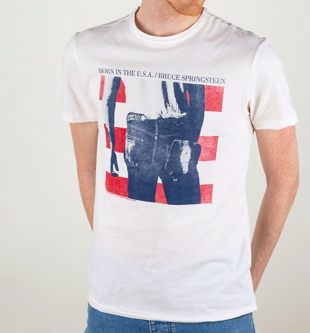 White Bruce Springsteen Born In The USA T-Shirt from Amplified