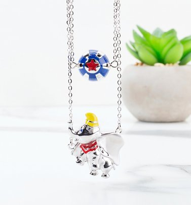 White Gold Plated Dumbo Layered Necklace from Disney by Couture Kingdom