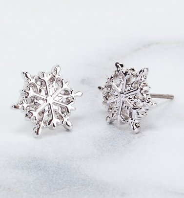 White Gold Plated Frozen Snowflake Stud Earrings from Disney by Couture Kingdom