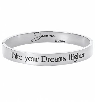White Gold Plated Aladdin Jasmine Take Your Dreams Higher Bangle from Disney By Couture Kingdom