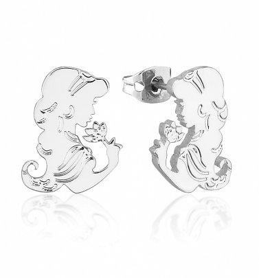 White Gold Plated Aladdin Princess Jasmine Stud Earrings from Disney by Couture Kingdom