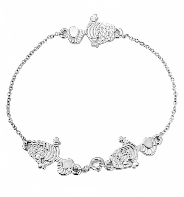 White Gold Plated Alice In Wonderland Cheshire Cat Bracelet from Disney Couture