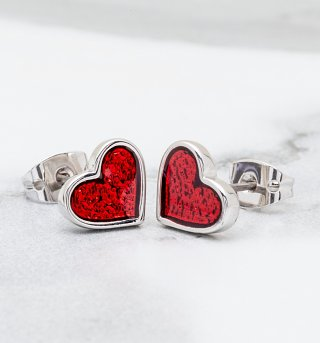White Gold Plated Alice In Wonderland Red Glitter Heart Stud Earrings