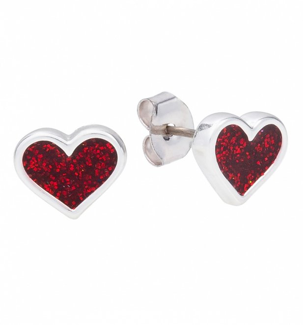 White Gold Plated Alice In Wonderland Red Glitter Heart Stud Earrings from Disney Couture