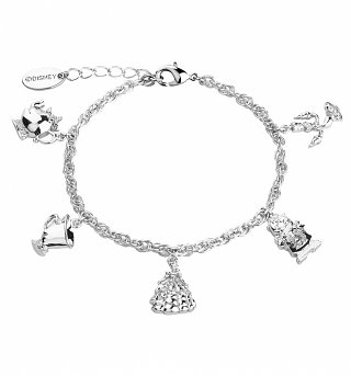 White Gold Plated Beauty & The Beast Characters Charm Bracelet from Disney Couture