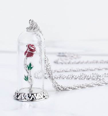 White Gold Plated Beauty & The Beast Enchanted Rose Dome Necklace
