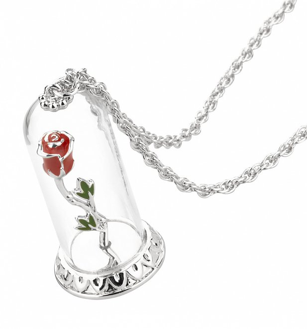 White Gold Plated Beauty & The Beast Enchanted Rose Dome Necklace from Disney Couture