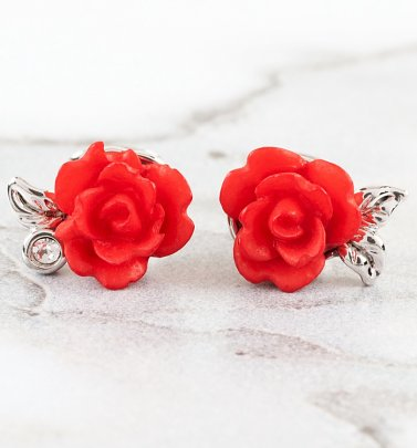 White Gold Plated Beauty & The Beast Enchanted Rose Stud Earrings
