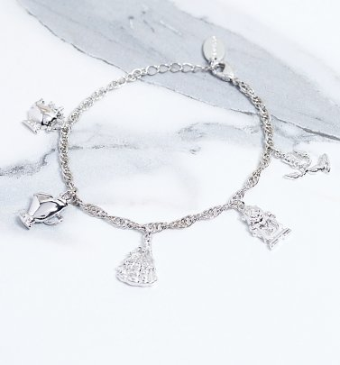 White Gold Plated Beauty & The Beast Characters Charm Bracelet