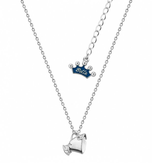 White Gold Plated Beauty & The Beast Chip Necklace from Disney Couture