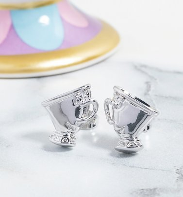 White Gold Plated Beauty & The Beast Chip Stud Earrings