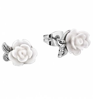 White Gold Plated Beauty & The Beast Enchanted White Rose Earrings from Disney Couture