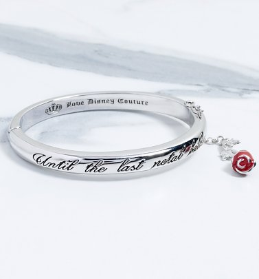 White Gold Plated Beauty & The Beast Last Petal Falls Bangle