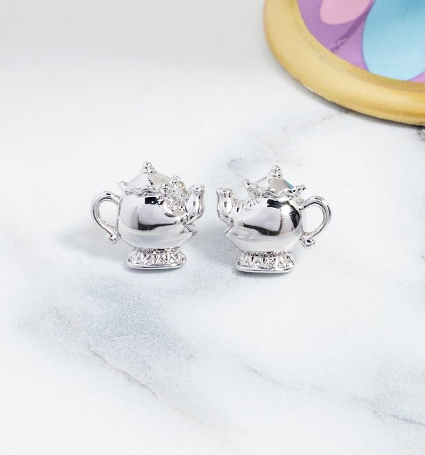 White Gold Plated Beauty & The Beast Mrs Potts Stud Earrings