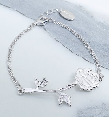 White Gold Plated Beauty & The Beast Rose Bracelet