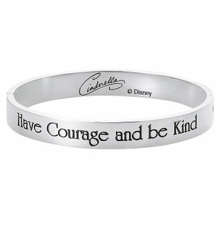 White Gold Plated Cinderella Have Courage And Be Kind Bangle from Disney By Couture Kingdom