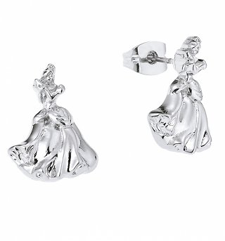 White Gold Plated Cinderella Stud Earrings from Disney By Couture Kingdom