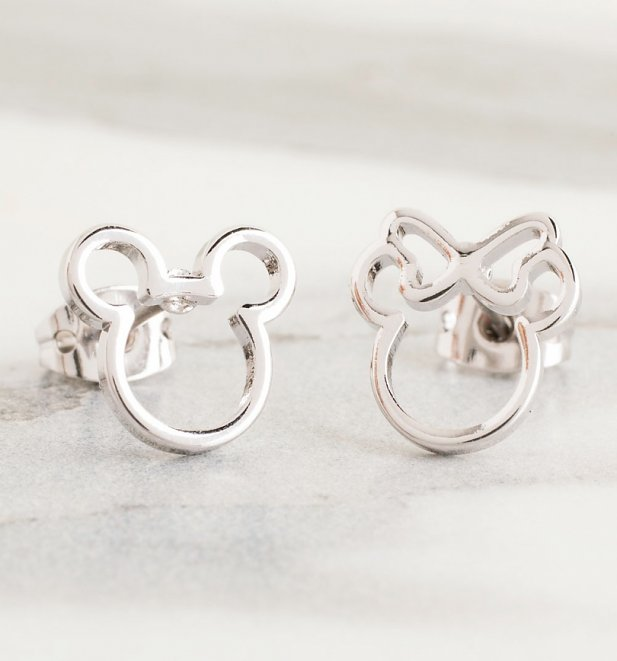 White Gold Plated Disney Mickey and Minnie Mismatched Stud Earrings