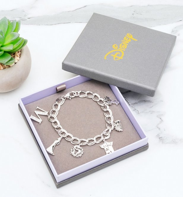 White Gold Plated Disney Mulan Charm Bracelet