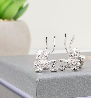 White Gold Plated Disney Mulan Cri-Kee Stud Earrings