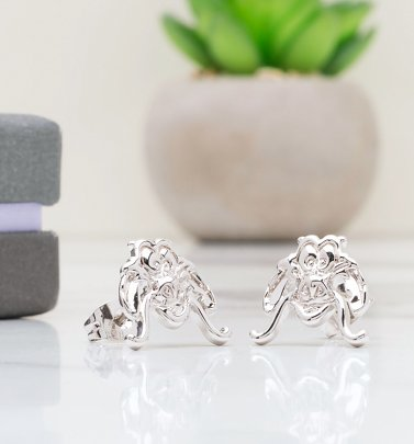 White Gold Plated Disney Mulan Mushu Stud Earrings